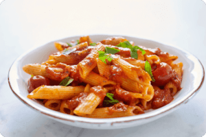 Penne with Whole Cherry Tomato & Basil Sauce