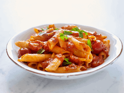 Penne with Whole Cherry Tomato & Basil Sauce 1