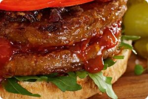 Beef-Style Burgers with Stuffed Tomatoes 4