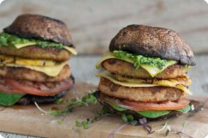 Mushroom and Chicken-Style Burger 3