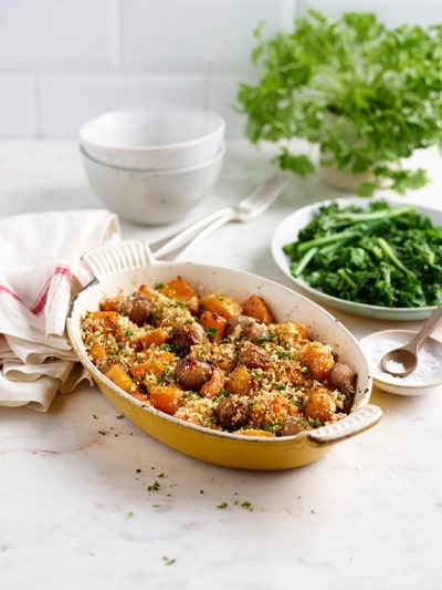 Baked shallots and squash with a crispy rosemary, chilli, orange and olive oil breadcrumb topping 1