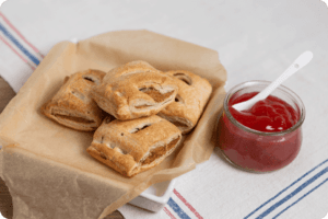 Healthy Tomato Ketchup with Vegan Sausage Rolls