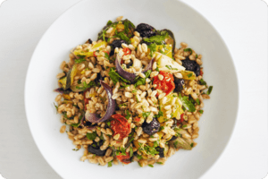Roasted Vegetables and Pearl Barley with Tigg's Pepper and Mustard Dressing