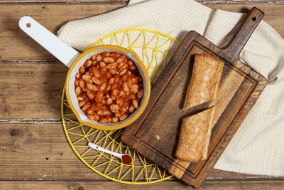 Smoky Baked Beans and Vegan Sausage Rolls