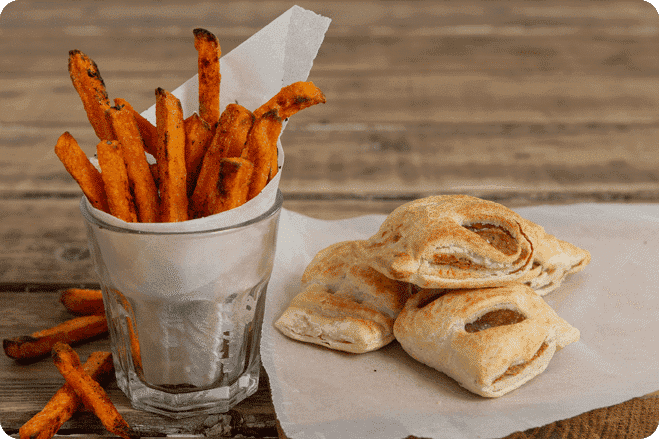 Sweet Potato Fries with Vegan Sausage Rolls