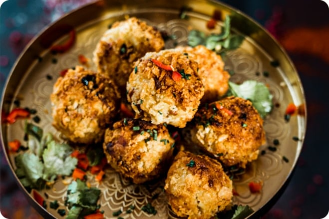 Festive Mac n Cheese Balls with Mince & Cranberry